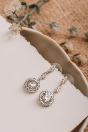 High Quality Cubic Zirconia, Rhodium Plated Drop Earrings
