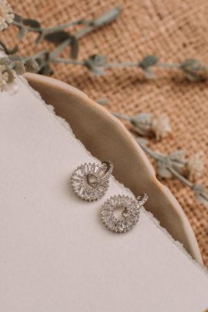 High Quality Cubic Zirconia Rhodium Plated Semi Drop Earrings