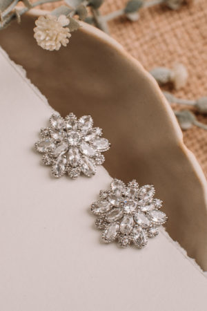 Rhodium Plated High Quality Cubic Zirconia, Stud Earrings